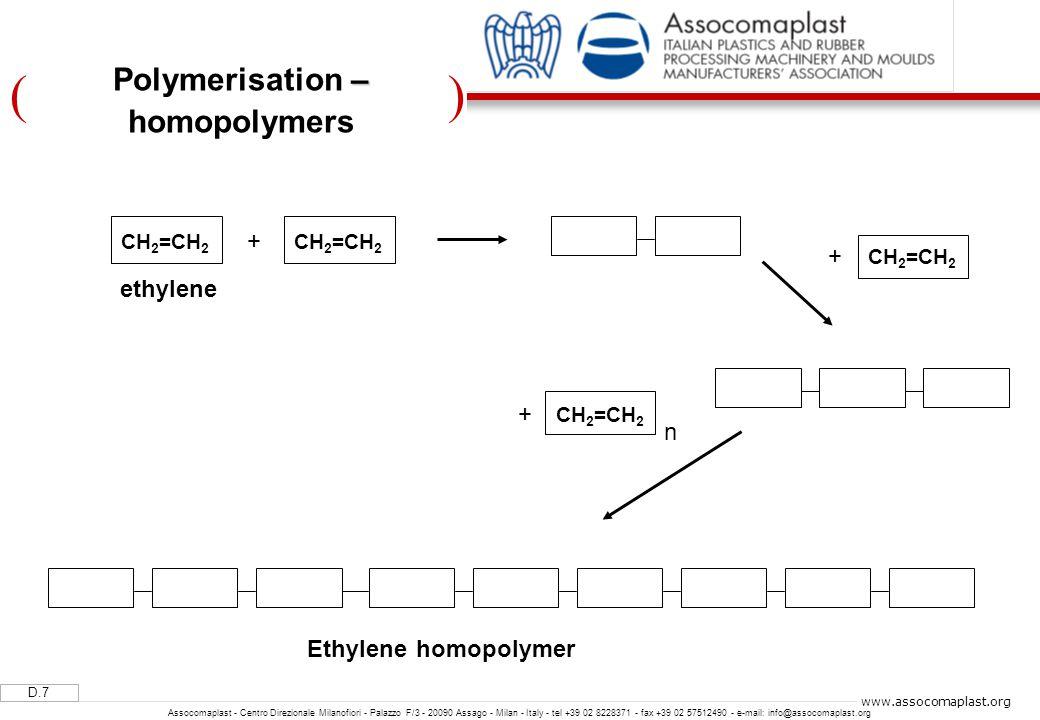 )( D.7 Assocomaplast - Centro Direzionale Milanofiori - Palazzo F/3 - 20090 Assago - Milan - Italy - tel +39 02 8228371 - fax +39 02 57512490 - e-mail: info@assocomaplast.org www.assocomaplast.org – Polymerisation – homopolymers CH 2 =CH 2 ethylene + CH 2 =CH 2 + + n Ethylene homopolymer CH 2 =CH 2