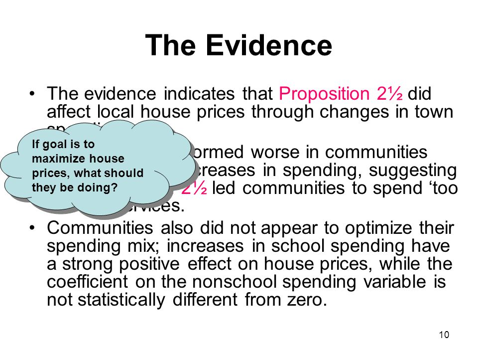 10 The Evidence The evidence indicates that Proposition 2½ did affect local house prices through changes in town spending House prices performed worse