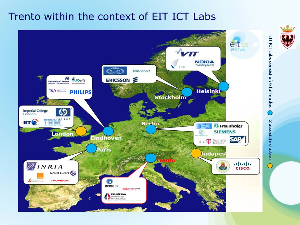 Trento within the context of EIT ICT Labs EIT ICT Labs consist of: 6 full nodes 2 associate clusters