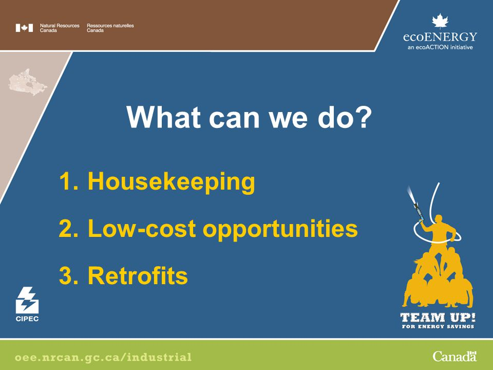1.Housekeeping 2.Low-cost opportunities 3.Retrofits What can we do