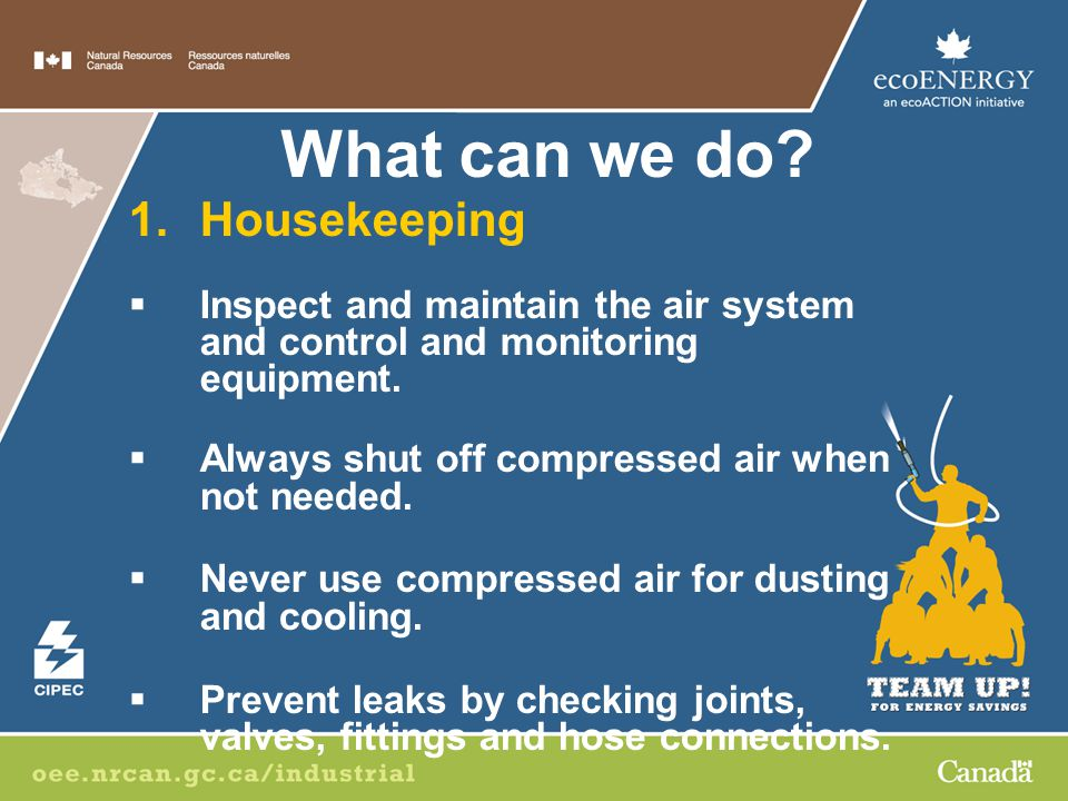 1.Housekeeping  Inspect and maintain the air system and control and monitoring equipment.