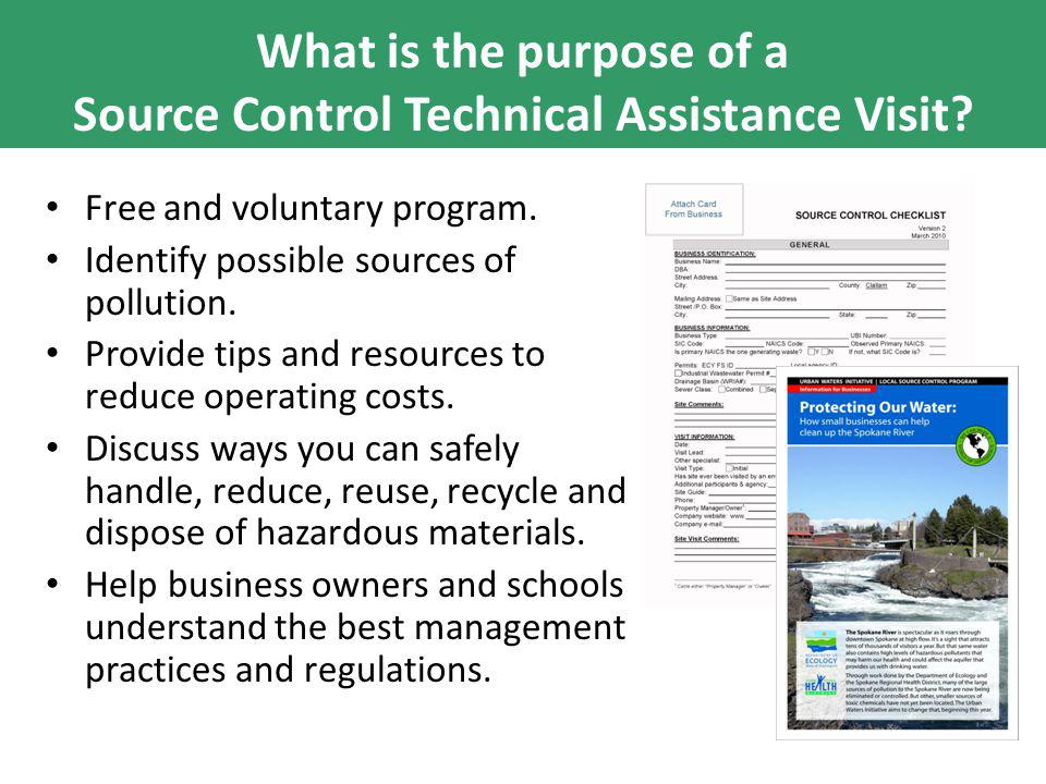 What is the purpose of a Source Control Technical Assistance Visit.