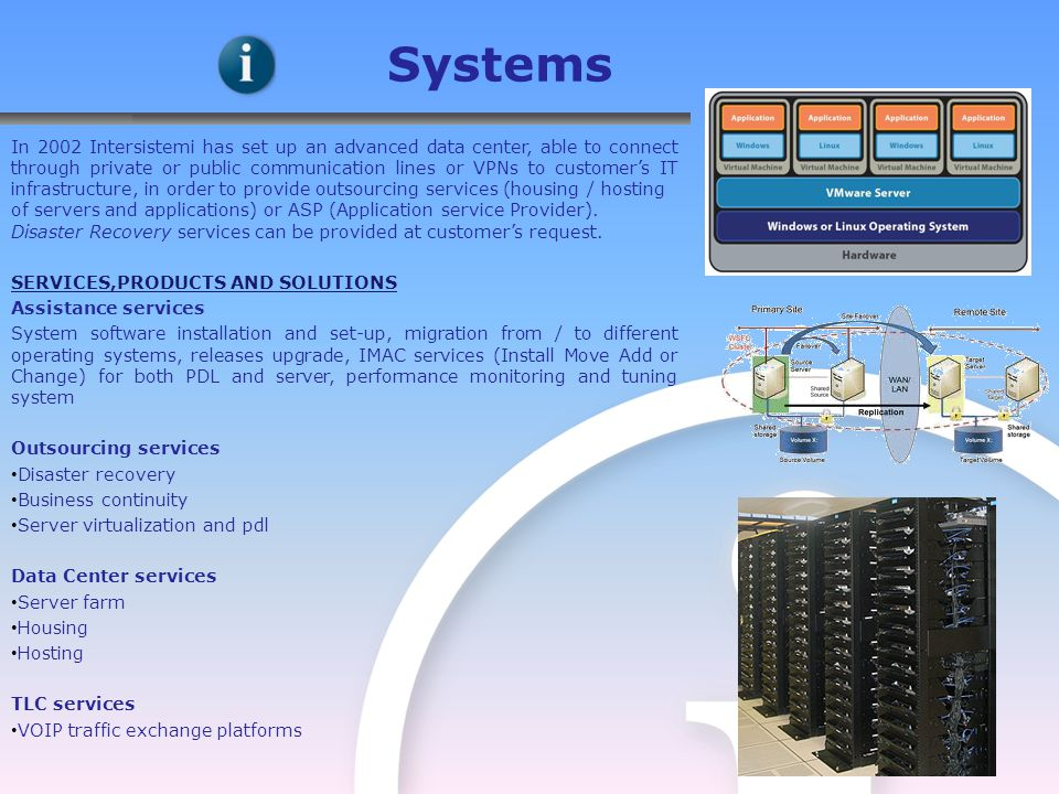 In 2002 Intersistemi has set up an advanced data center, able to connect through private or public communication lines or VPNs to customer's IT infrastructure, in order to provide outsourcing services (housing / hosting of servers and applications) or ASP (Application service Provider).
