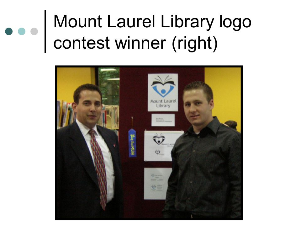 http://www.people.vcu.edu/~jsstover/solinet0506.ppt Mount Laurel Library logo contest winner (right)