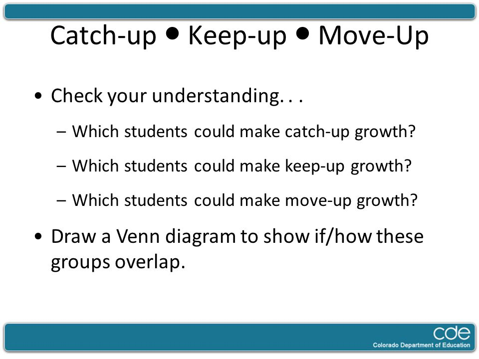Catch-up ● Keep-up ● Move-Up Check your understanding... –Which students could make catch-up growth? –Which students could make keep-up growth? –Which
