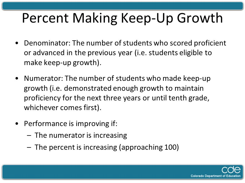 Percent Making Keep-Up Growth Denominator: The number of students who scored proficient or advanced in the previous year (i.e. students eligible to ma
