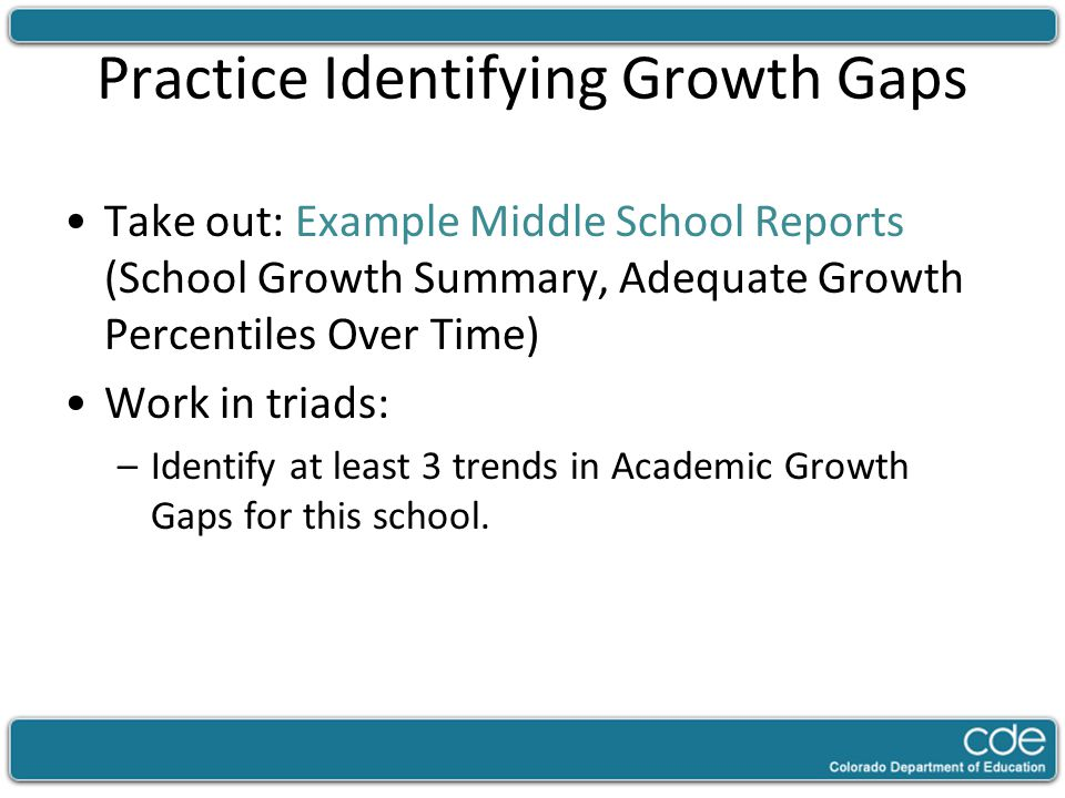 Practice Identifying Growth Gaps Take out: Example Middle School Reports (School Growth Summary, Adequate Growth Percentiles Over Time) Work in triads
