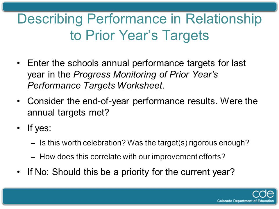 Describing Performance in Relationship to Prior Year's Targets Enter the schools annual performance targets for last year in the Progress Monitoring o
