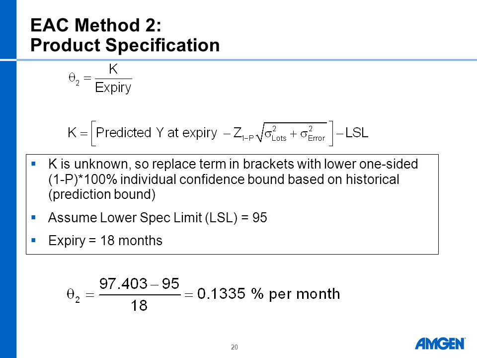 20 EAC Method 2: Product Specification  K is unknown, so replace term in brackets with lower one-sided (1-P)*100% individual confidence bound based on historical (prediction bound)  Assume Lower Spec Limit (LSL) = 95  Expiry = 18 months