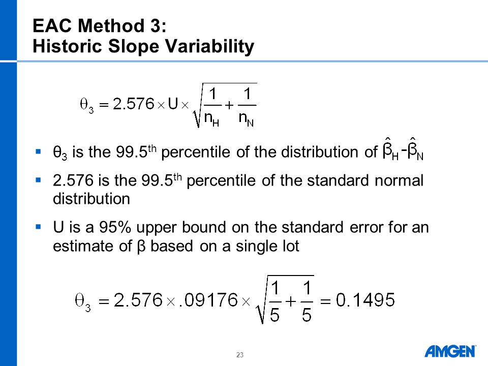 23 EAC Method 3: Historic Slope Variability  θ 3 is the 99.5 th percentile of the distribution of  2.576 is the 99.5 th percentile of the standard normal distribution  U is a 95% upper bound on the standard error for an estimate of β based on a single lot