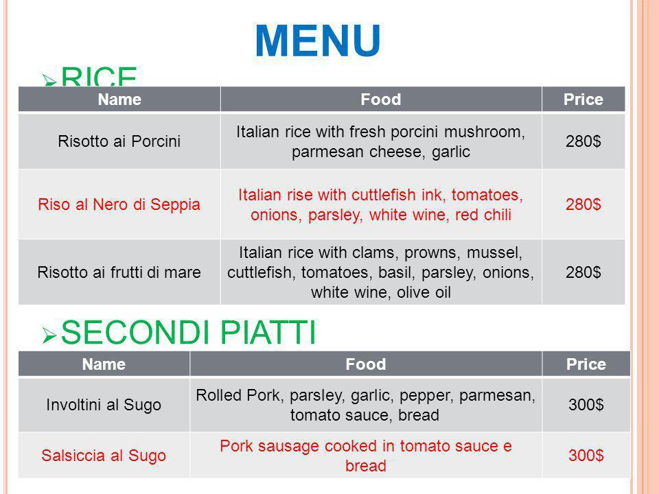 MENU  RICE  SECONDI PIATTI NameFoodPrice Risotto ai Porcini Italian rice with fresh porcini mushroom, parmesan cheese, garlic 280$ Riso al Nero di S
