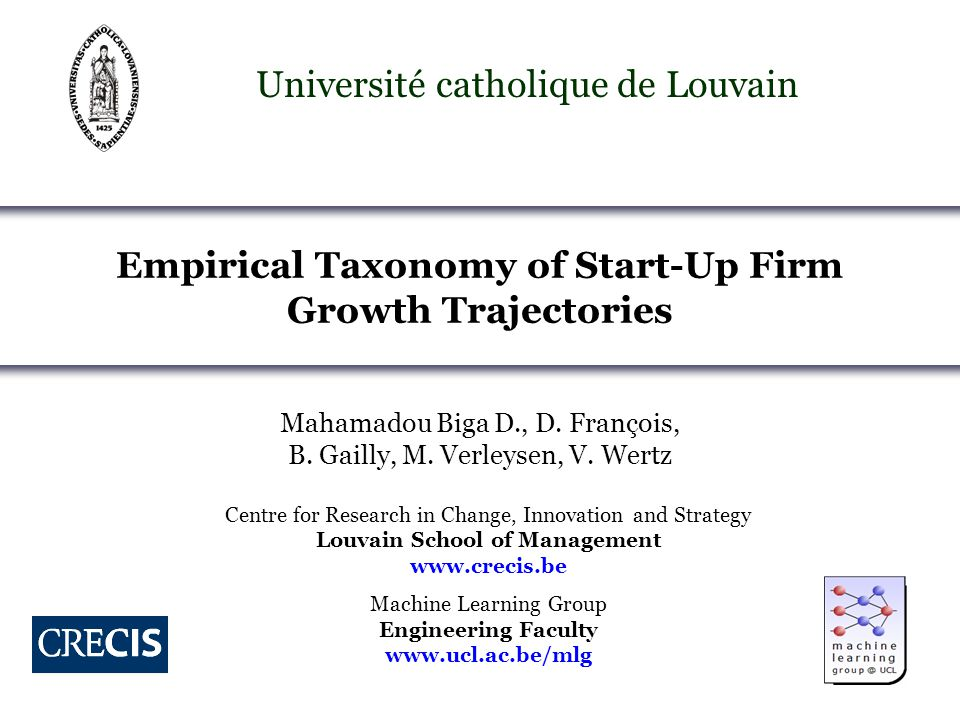 2 Motivation Promising firms generate significant wealth and jobs OECD; Audretsch & Turik,; Storey; Birsch… Knowledge about new & small firm growth remains scattered Wiklund & Shepherd; Delmar et al; Davidsson & Wiklund… How do promising firms grow and develop over time.