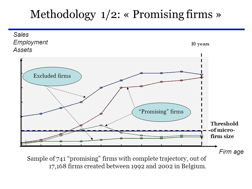 Methodology 1/2: « Promising firms » Threshold of micro- firm size Excluded firms Sales Employment Assets 10 years Firm age Promising firms Sample of 741 promising firms with complete trajectory, out of 17,168 firms created between 1992 and 2002 in Belgium.