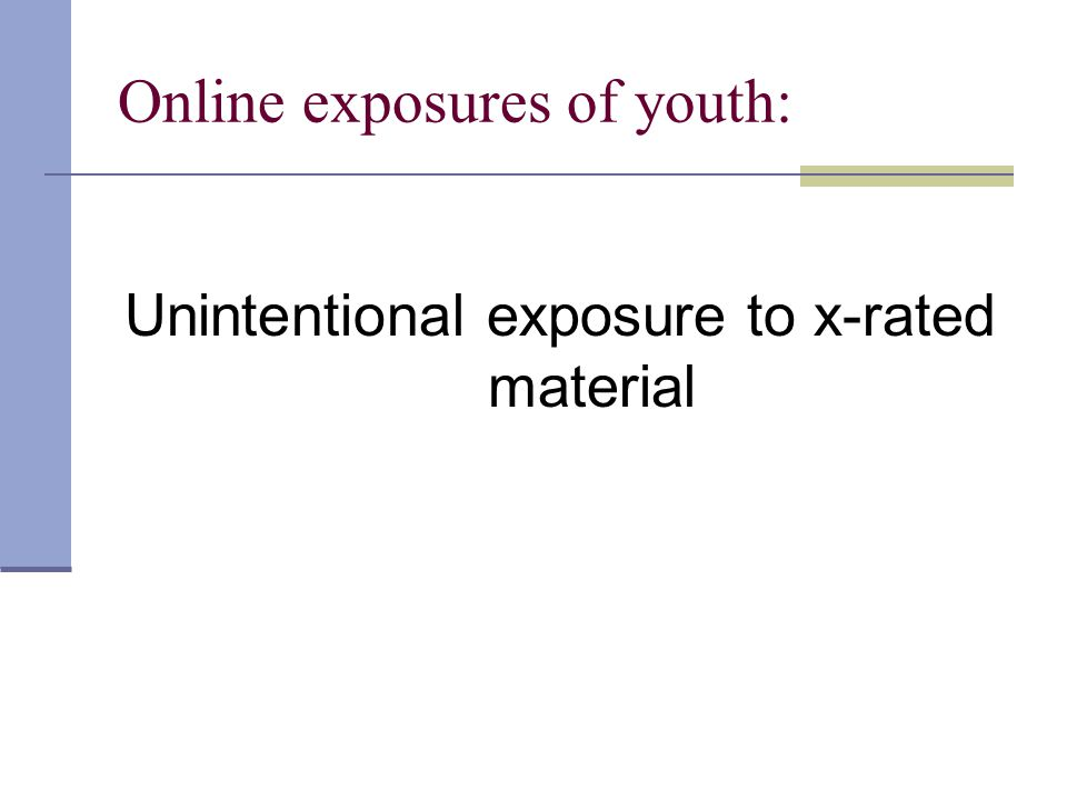 Online exposures of youth: Unintentional exposure to x-rated material