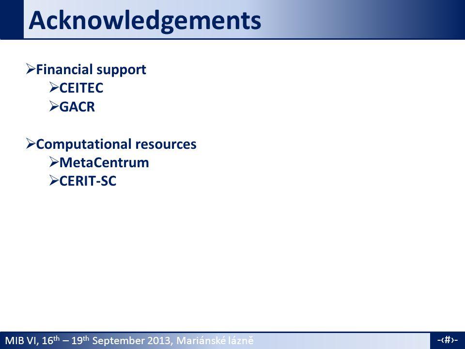 MIB VI, 16 th – 19 th September 2013, Mariánské lázně -19- Acknowledgements  Financial support  CEITEC  GACR  Computational resources  MetaCentrum  CERIT-SC