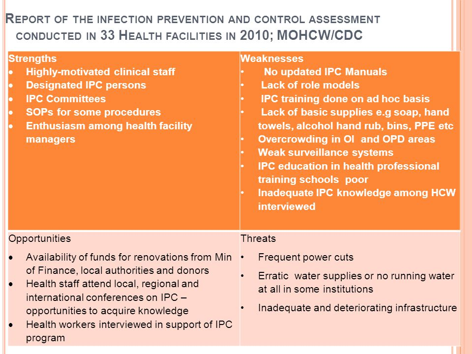 R EPORT OF THE INFECTION PREVENTION AND CONTROL ASSESSMENT CONDUCTED IN 33 H EALTH FACILITIES IN 2010; MOHCW/CDC Strengths  Highly-motivated clinical staff  Designated IPC persons  IPC Committees  SOPs for some procedures  Enthusiasm among health facility managers Weaknesses No updated IPC Manuals Lack of role models IPC training done on ad hoc basis Lack of basic supplies e.g soap, hand towels, alcohol hand rub, bins, PPE etc Overcrowding in OI and OPD areas Weak surveillance systems IPC education in health professional training schools poor Inadequate IPC knowledge among HCW interviewed Opportunities  Availability of funds for renovations from Min of Finance, local authorities and donors  Health staff attend local, regional and international conferences on IPC – opportunities to acquire knowledge  Health workers interviewed in support of IPC program Threats Frequent power cuts Erratic water supplies or no running water at all in some institutions Inadequate and deteriorating infrastructure