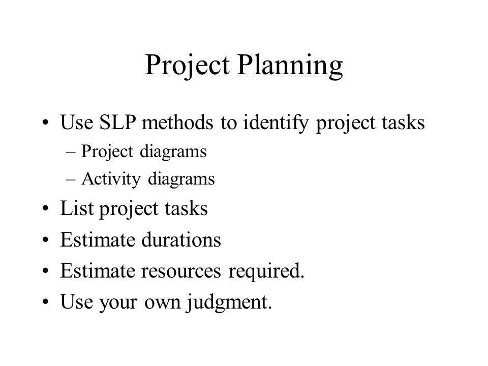 Project Planning Use SLP methods to identify project tasks –Project diagrams –Activity diagrams List project tasks Estimate durations Estimate resources required.