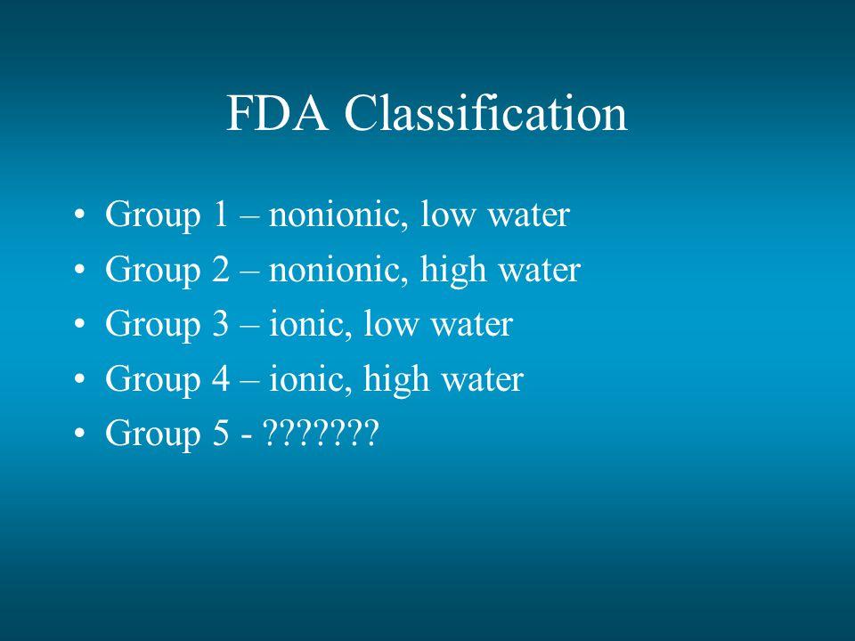 FDA Classification Group 1 – nonionic, low water Group 2 – nonionic, high water Group 3 – ionic, low water Group 4 – ionic, high water Group 5 - ???????
