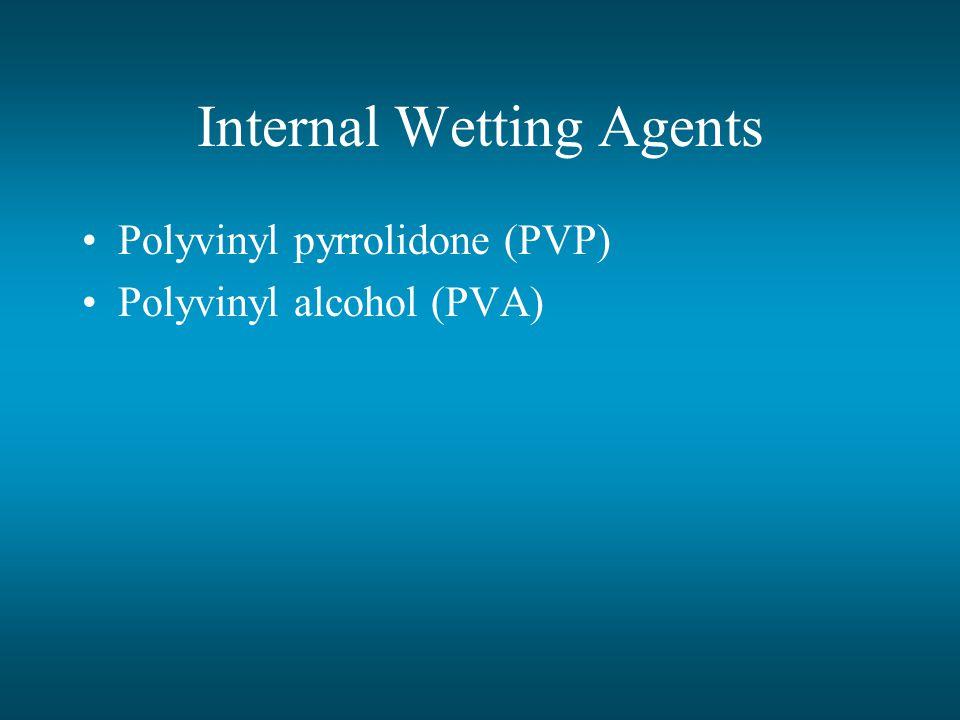 Internal Wetting Agents Polyvinyl pyrrolidone (PVP) Polyvinyl alcohol (PVA)