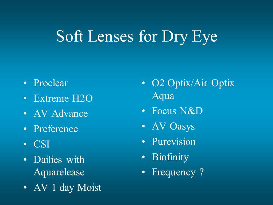 Soft Lenses for Dry Eye Proclear Extreme H2O AV Advance Preference CSI Dailies with Aquarelease AV 1 day Moist O2 Optix/Air Optix Aqua Focus N&D AV Oasys Purevision Biofinity Frequency ?