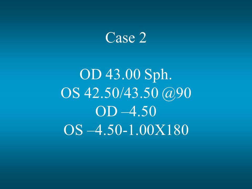 Case 2 OD 43.00 Sph. OS 42.50/43.50 @90 OD –4.50 OS –4.50-1.00X180