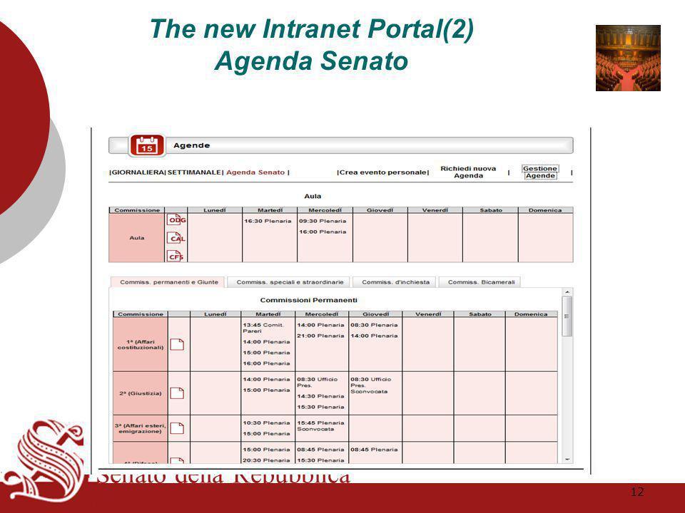 Senato della Repubblica The new Intranet Portal(2) Agenda Senato 12
