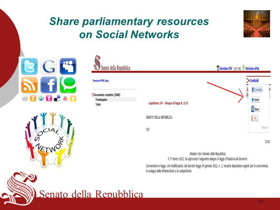 Senato della Repubblica Share parliamentary resources on Social Networks 16