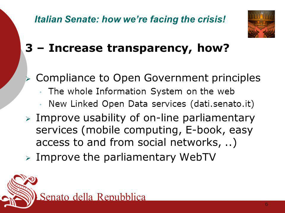Senato della Repubblica 3 – Increase transparency, how.