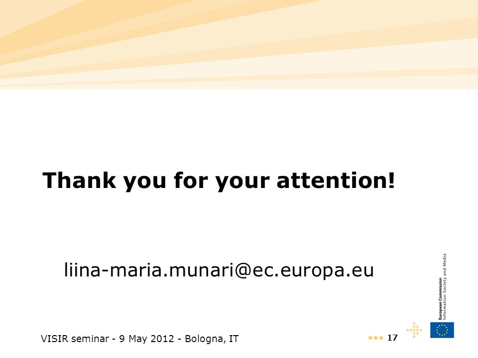 VISIR seminar - 9 May 2012 - Bologna, IT 17 Thank you for your attention.
