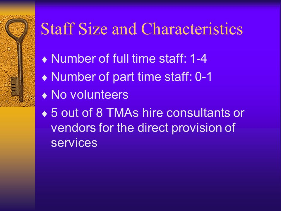 Staff Size and Characteristics  Number of full time staff: 1-4  Number of part time staff: 0-1  No volunteers  5 out of 8 TMAs hire consultants or vendors for the direct provision of services