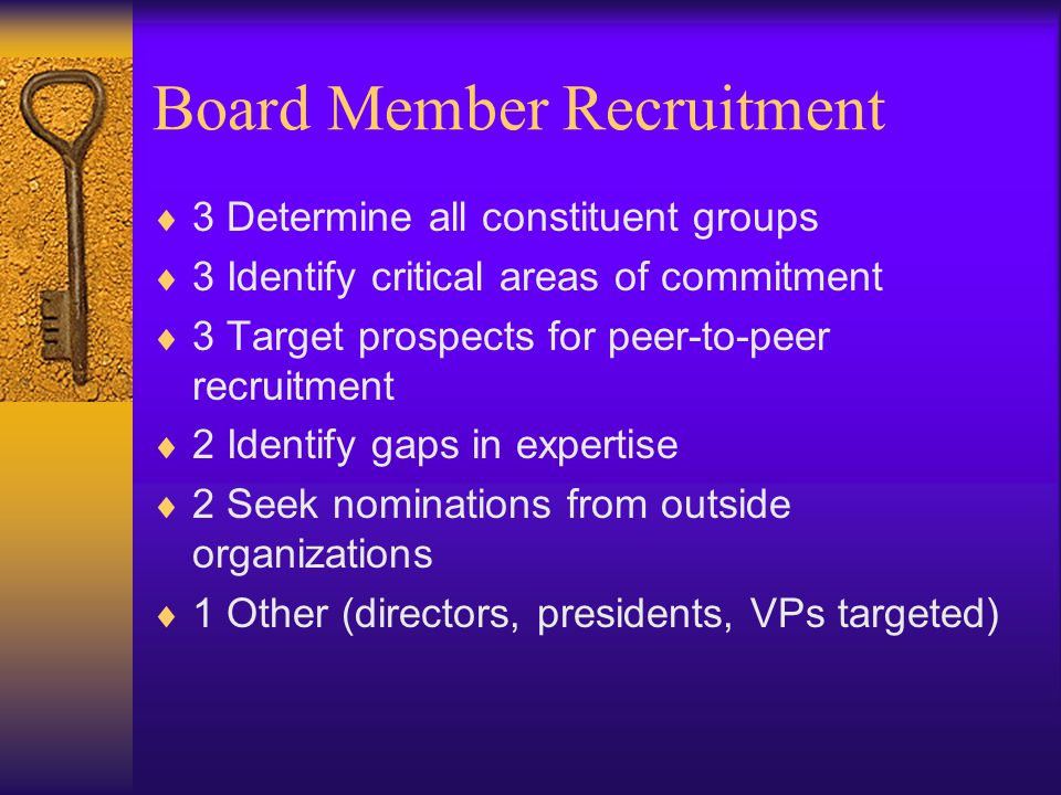 Board Member Recruitment  3 Determine all constituent groups  3 Identify critical areas of commitment  3 Target prospects for peer-to-peer recruitment  2 Identify gaps in expertise  2 Seek nominations from outside organizations  1 Other (directors, presidents, VPs targeted)