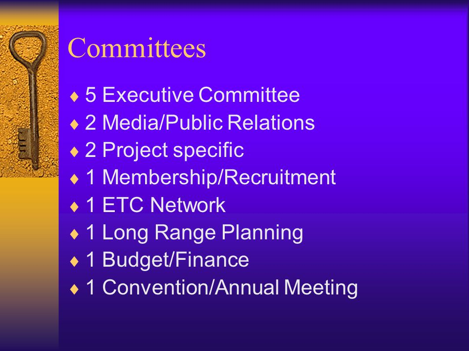 Committees  5 Executive Committee  2 Media/Public Relations  2 Project specific  1 Membership/Recruitment  1 ETC Network  1 Long Range Planning  1 Budget/Finance  1 Convention/Annual Meeting