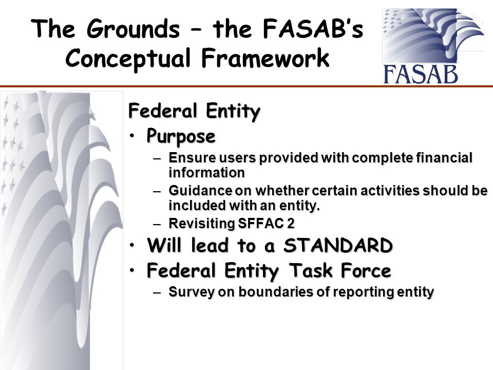 The Grounds – the FASAB's Conceptual Framework Federal Entity PurposePurpose –Ensure users provided with complete financial information –Guidance on whether certain activities should be included with an entity.