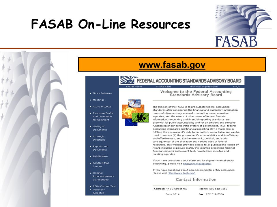 FASAB On-Line Resources www.fasab.gov