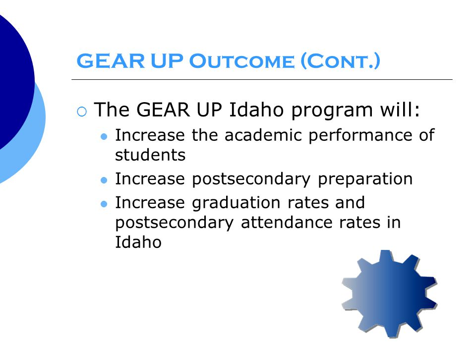 GEAR UP Outcome (Cont.)  The GEAR UP Idaho program will: Increase the academic performance of students Increase postsecondary preparation Increase graduation rates and postsecondary attendance rates in Idaho