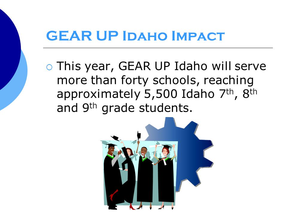 GEAR UP Idaho Impact  This year, GEAR UP Idaho will serve more than forty schools, reaching approximately 5,500 Idaho 7 th, 8 th and 9 th grade students.