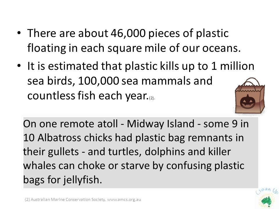 There are about 46,000 pieces of plastic floating in each square mile of our oceans.