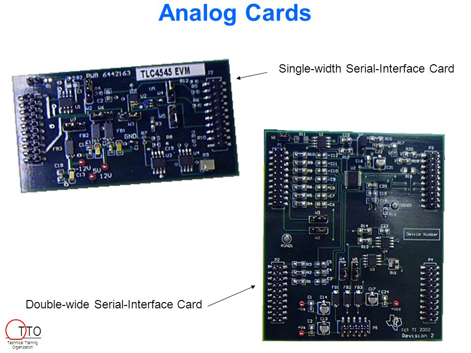 Analog Cards Single-width Serial-Interface Card Double-wide Serial-Interface Card Technical Training Organization T TO