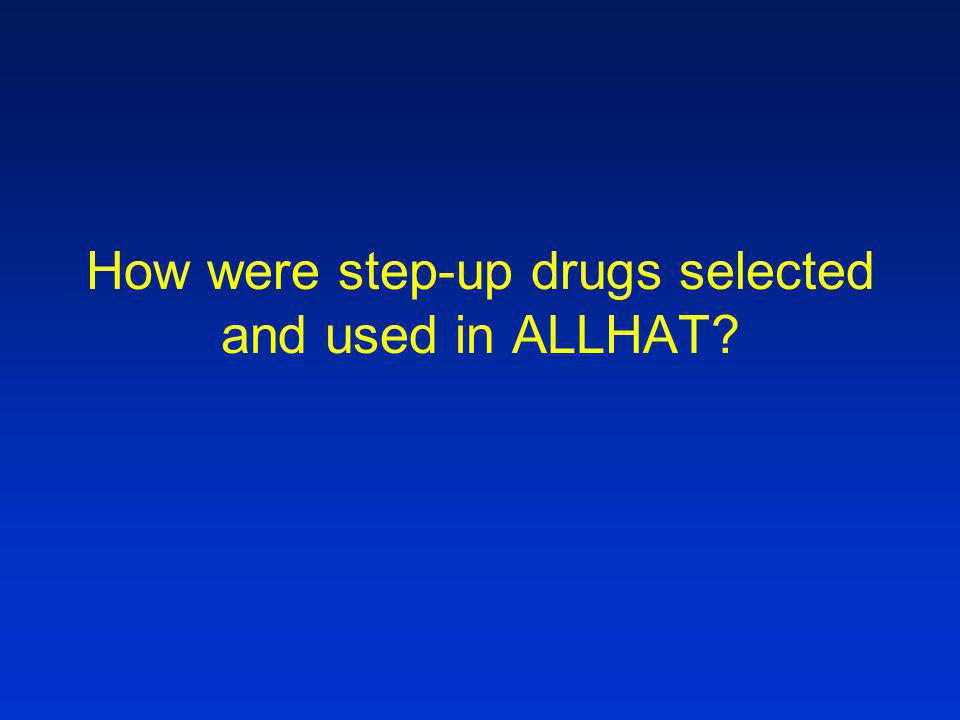 How were step-up drugs selected and used in ALLHAT
