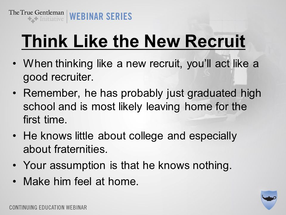 5 steps to a successful recruitment Use the NIC Right Way to Rush –Meet him –Make him a friend –Introduce him to your friends –Introduce him to  –Ask him to join –Bonus: Ask him to ask his friends to join