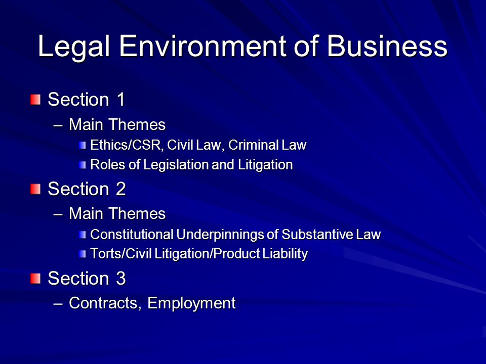 Legal Environment of Business Section 1 –Main Themes Ethics/CSR, Civil Law, Criminal Law Roles of Legislation and Litigation Section 2 –Main Themes Constitutional Underpinnings of Substantive Law Torts/Civil Litigation/Product Liability Section 3 –Contracts, Employment