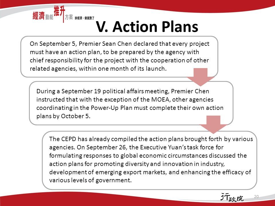 V. Action Plans 20 On September 5, Premier Sean Chen declared that every project must have an action plan, to be prepared by the agency with chief res