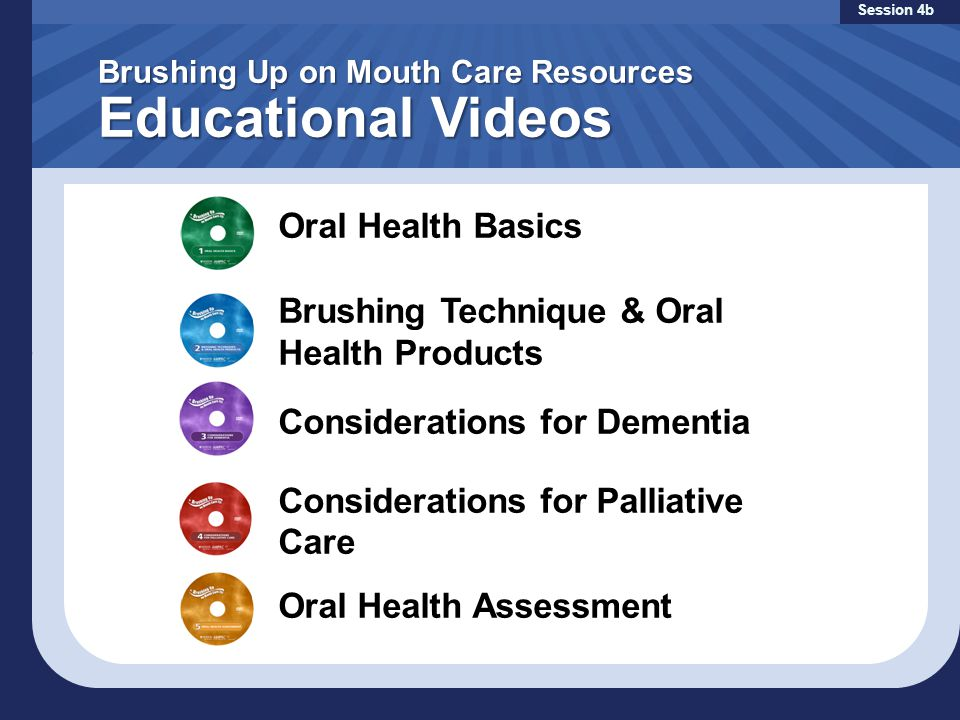 Brushing Up on Mouth Care Resources Educational Videos Session 4b Oral Health Basics Brushing Technique & Oral Health Products Considerations for Dementia Considerations for Palliative Care Oral Health Assessment