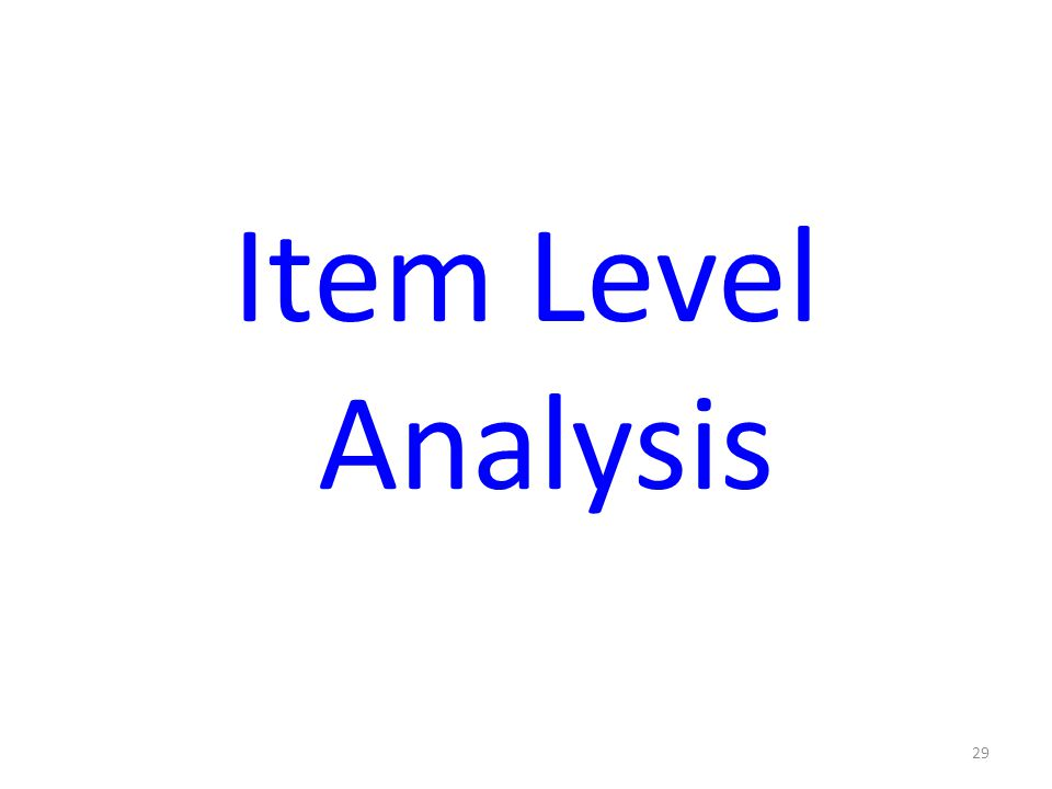 29 Item Level Analysis