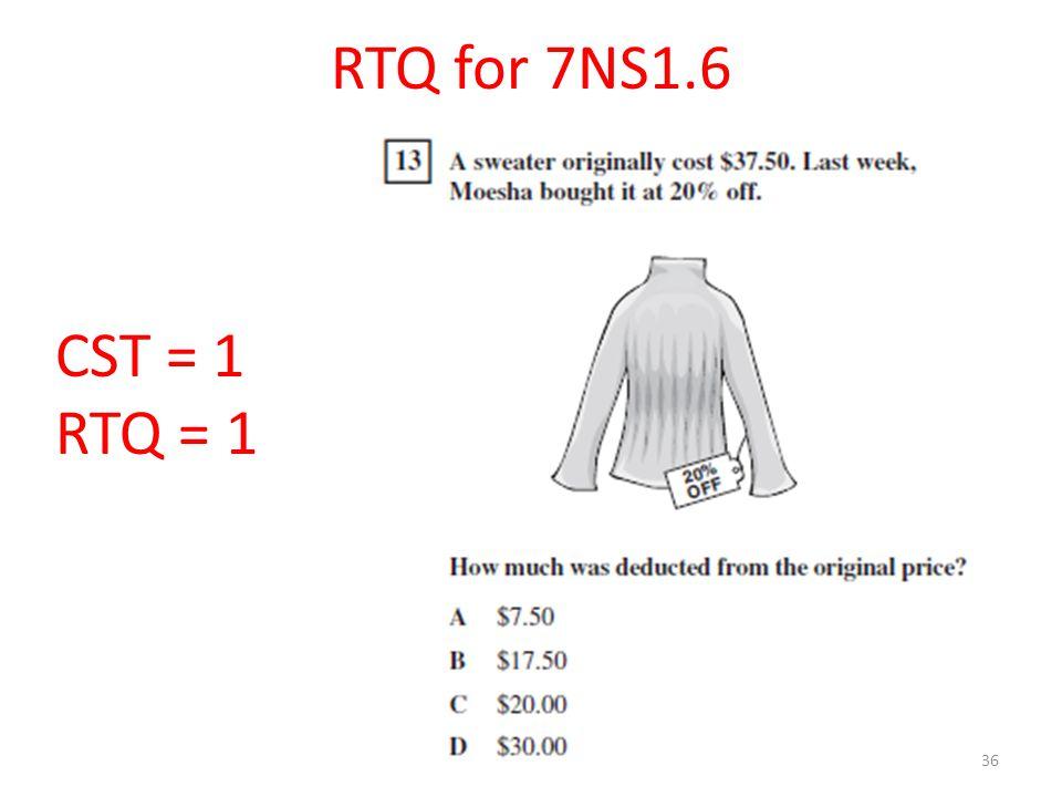 36 RTQ for 7NS1.6 CST = 1 RTQ = 1