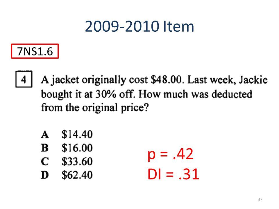 37 7NS1.6 2009-2010 Item p =.42 DI =.31