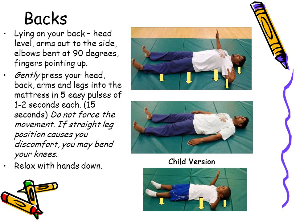 Backs Lying on your back – head level, arms out to the side, elbows bent at 90 degrees, fingers pointing up.
