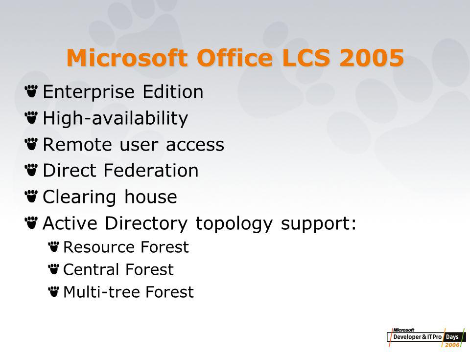 Enterprise Edition High-availability Remote user access Direct Federation Clearing house Active Directory topology support: Resource Forest Central Forest Multi-tree Forest Microsoft Office LCS 2005