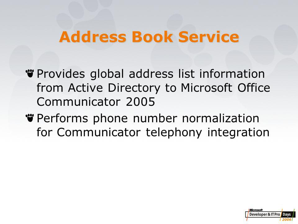 Address Book Service Provides global address list information from Active Directory to Microsoft Office Communicator 2005 Performs phone number normalization for Communicator telephony integration