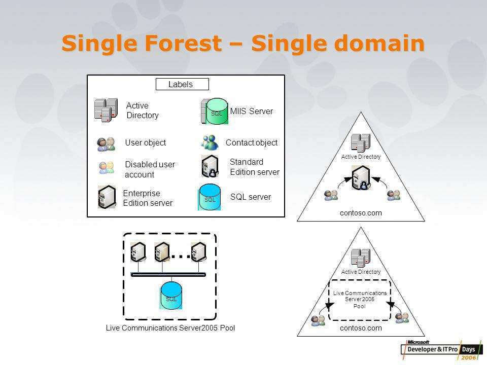 Single Forest – Single domain Standard Edition server SQL SQL server Enterprise Edition server contoso.com Active Directory Live Communications Server2005 Pool